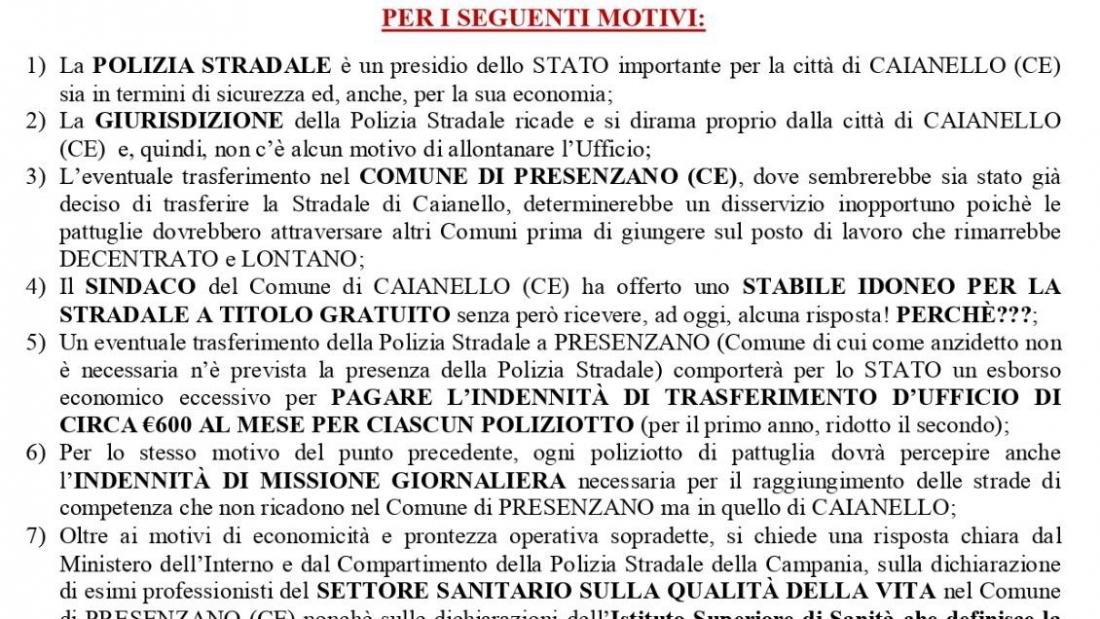La Polizia Stradale di Caianello non si tocca